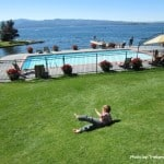 Flathead Lake Lodge pool grass waterfront