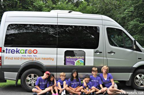 Troo American Road Trip; all the kids by the van